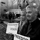 Demonstrators at Iranian Rally by Andrew  Makowiecki
