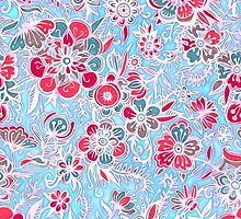 Sweet Spring Floral - cherry red & bright aqua by micklyn