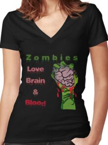 Halloween Night with Zombies Women's Fitted V-Neck T-Shirt