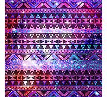 Girly Andes Aztec Pattern Pink Teal Nebula Galaxy Photographic Print