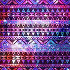 Girly Andes Aztec Pattern Pink Teal Nebula Galaxy by GirlyTrend
