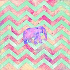 Whimsical Purple Elephant Mint Green Pink Chevron by GirlyTrend