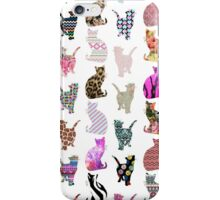 Girly Whimsical Cats aztec floral stripes pattern iPhone Case/Skin