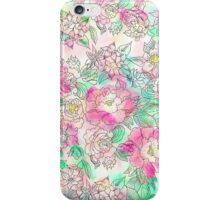 Handdrawn girly pink turquoise floral watercolor iPhone Case/Skin