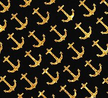 Vintage Retro Sailor Gold Glitter Nautical Anchors by GirlyTrend