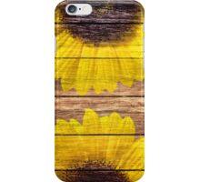 Yellow Sunflowers Rustic Vintage Brown Wood iPhone Case/Skin