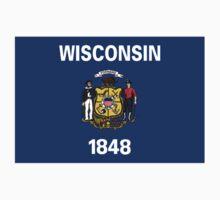 Wisconsin USA State Flag Milwaukee Bedspread T-Shirt Sticker by deanworld