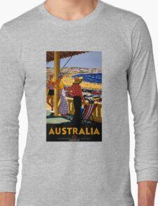 Australia Vintage Travel Poster Restored Long Sleeve T-Shirt