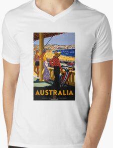 Australia Vintage Travel Poster Restored Mens V-Neck T-Shirt