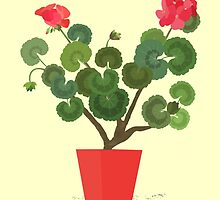 Geranium Flowers in a Pot by Jacqueline Turton