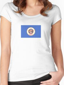 Minnesota USA State Flag Minneapolis Duvet T-Shirt Sticker Women's Fitted Scoop T-Shirt
