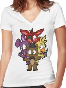 Five Nights at Freddy's Chibi Women's Fitted V-Neck T-Shirt