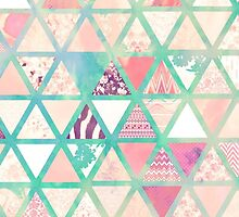 Pink Turquoise Abstract Floral Triangles Patchwork by GirlyTrend