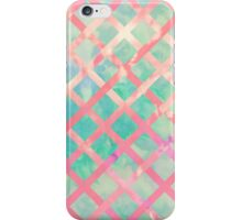 Girly Retro Turquoise Pink Watercolor Lattice iPhone Case/Skin