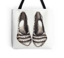 White & Black Shoe Tote Bag