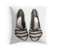 White & Black Shoe Throw Pillow