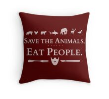 save the animals, EAT PEOPLE (2) Throw Pillow