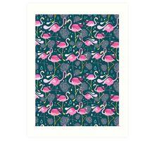 pattern with flamingos  Art Print
