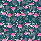 pattern with flamingos  by Tanor