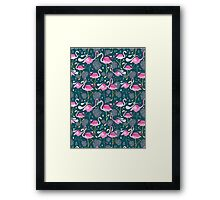 pattern with flamingos  Framed Print