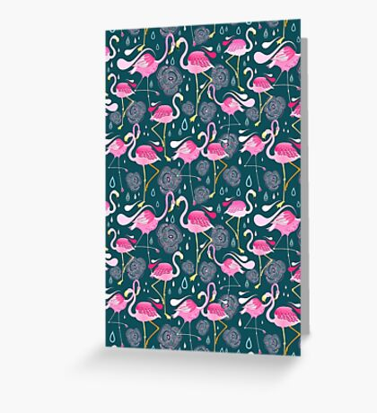 pattern with flamingos  Greeting Card