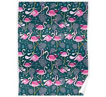 pattern with flamingos  Poster
