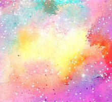 Hand painted pastel watercolor nebula galaxy stars by GirlyTrend