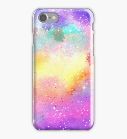 Hand painted pastel watercolor nebula galaxy stars iPhone Case/Skin