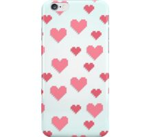 Abstract 8-bit pink and blue heart pattern iPhone Case/Skin