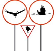 Birds traffic signs by Laschon Robert Paul
