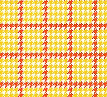 Houndstooth Yellow Red White by junkydotcom