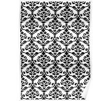 Cresta Damask Pattern Black on White Poster