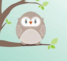 Sweet owl in a tree by Kat Massard