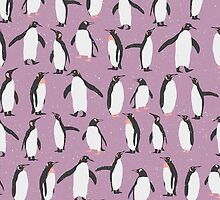 Happy Penguins and Snow on a purple background by headpossum