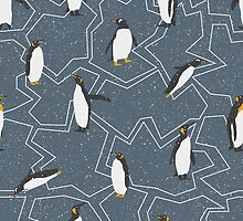 Happy Penguins and Snow on a Blue background by headpossum