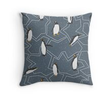 Happy Penguins and Snow on a Blue background Throw Pillow