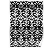 Cresta Damask Pattern White on Black Poster