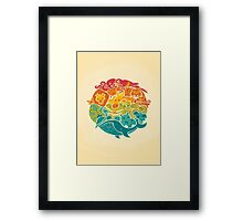 Animal Rainbow - cream Framed Print