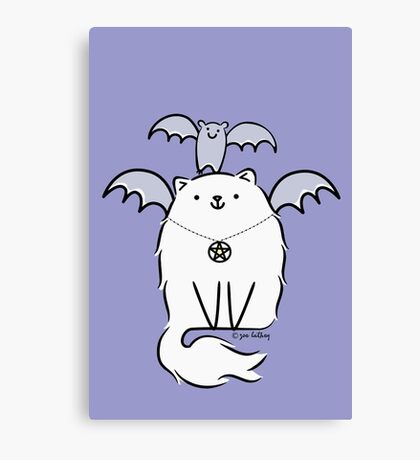Fluffy White Witch's Cat with Bat Canvas Print