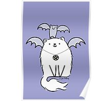 Fluffy White Witch's Cat with Bat Poster