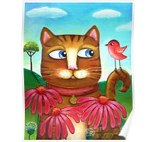 Cat in the Echinacea  Poster