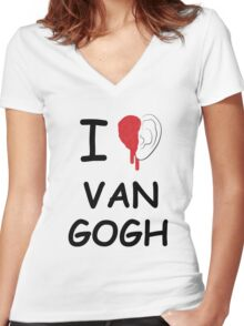 I love Van Gogh Women's Fitted V-Neck T-Shirt