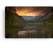 Sunset at Lake Dürrsee in Summer Canvas Print