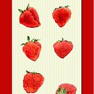 Strawberries Falling red by Mariana Musa