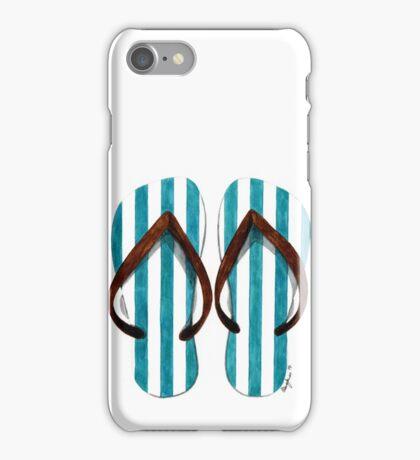Stripey flip-flops iPhone Case/Skin