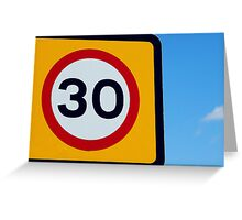 Colourful Thirty speed sign Greeting Card
