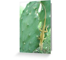 Anole on Cactus Greeting Card