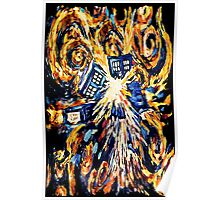 Big Bang Attack Exploded Flamed Phone booth painting Poster