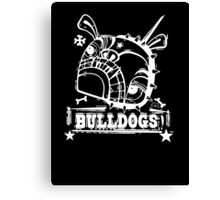 Grim the Bulldog III white on black Canvas Print