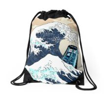 Space And Time traveller Box Vs The great wave Drawstring Bag